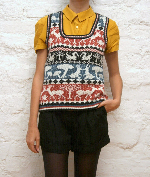Vintage 80's deer, rabbit, bird sweater for women