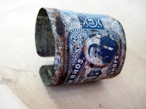 Recycled Rustic Tea Tin Cuff Bracelet.