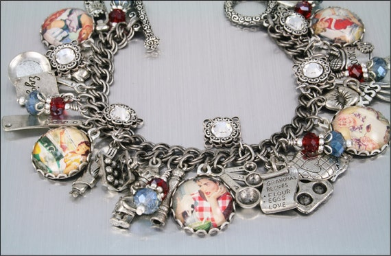 Charm Bracelet, Kiss the Cook, Cooking and Baking, Kitchen, Vintage Inspired
