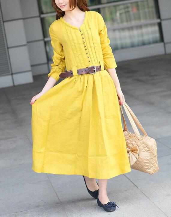 کتانی زرد سفارشی سفارش / لباس آستین بلند لباس ساقدوش عروس