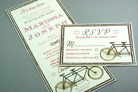 Vintage Tandem Bicycle Wedding Invitation Suite you pick the colors