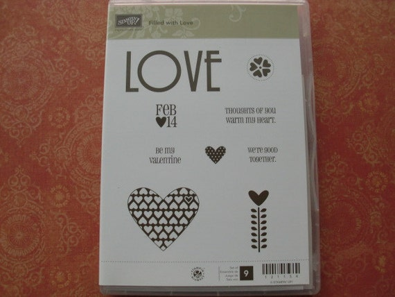 """Stampin Up """"Filled with Love"""" Cling Stamp Set"""