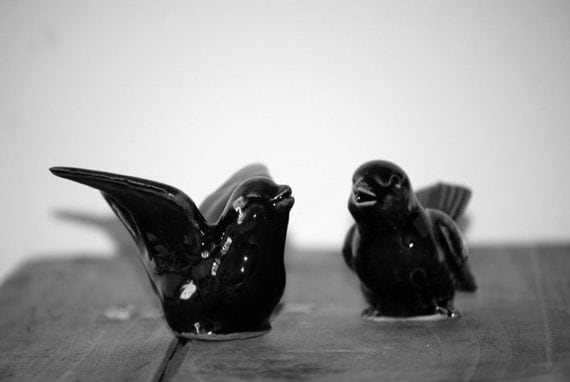 Bird Wedding cake toppers in black