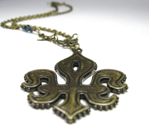 Fleur de lis, Pendant, Necklace, Antiqued Brass, Swarovski