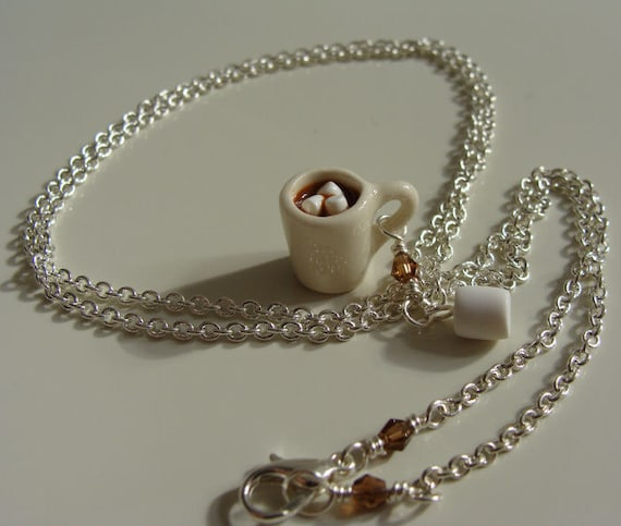 Hot Cocoa with Marshmallows Necklace - Miniature Food Polymer Clay Jewelry