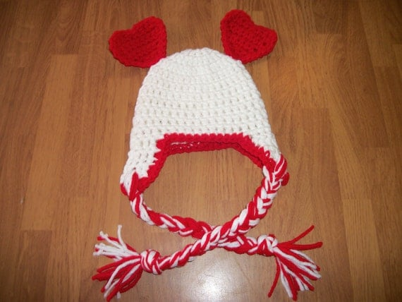 3-6 Month Valentine Hat - Photo Prop Red and White