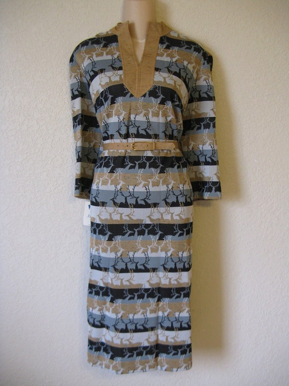 1960's romping reindeer mod dress. earth deer print. x-large. new old stock.