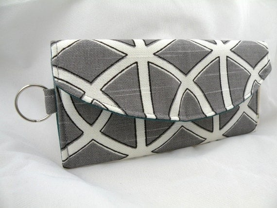 Mini Wallet-Card Holder  Charcoal and Ivory Bella Porte with Split Ring Key Holder