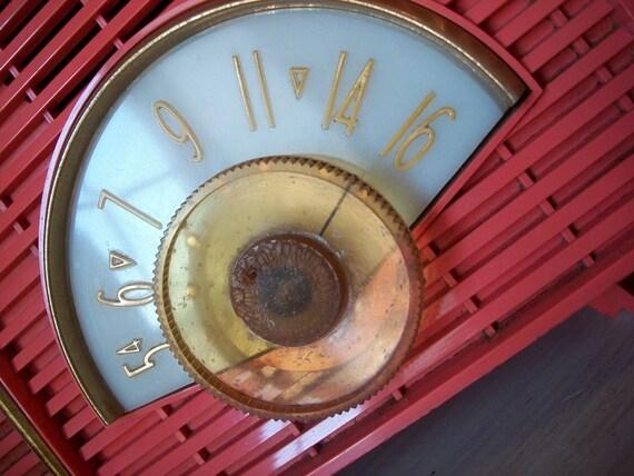 1959 Philco Twin Speaker table top tube AM radio 1950s FLAME pink orange WORKING treasury favorite