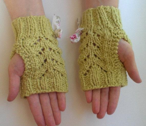 بهار سبز پنبه آلی Fingerless دستکش با کمان