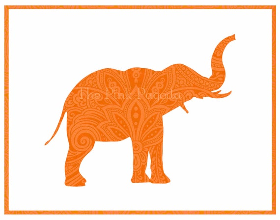 Tangerine Paisley Indian Elephant Silhouette Facing Right Giclee 11x14