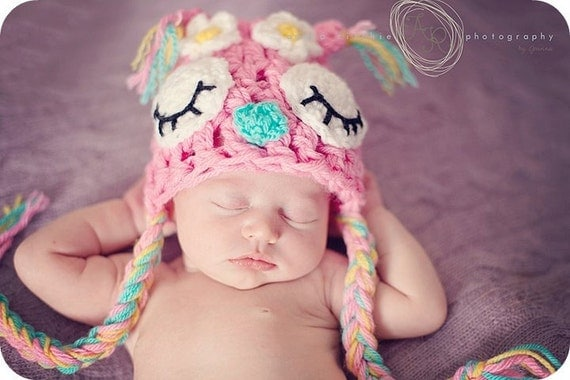 newborn upto 1 years Daisy flower Owl Hat made to order  photography prop or great gift.