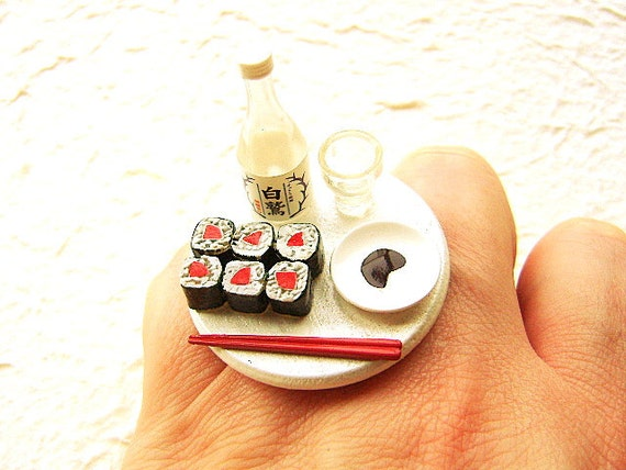 Kawaii Sushi Ring Traditional Japanese Food Jewelry
