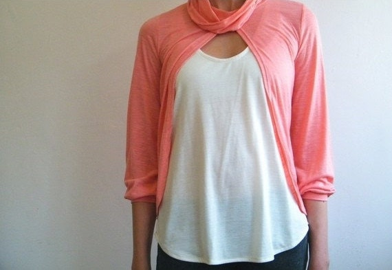 Cardigan -Free shipping - Salmon pink coral top with shawl collar.