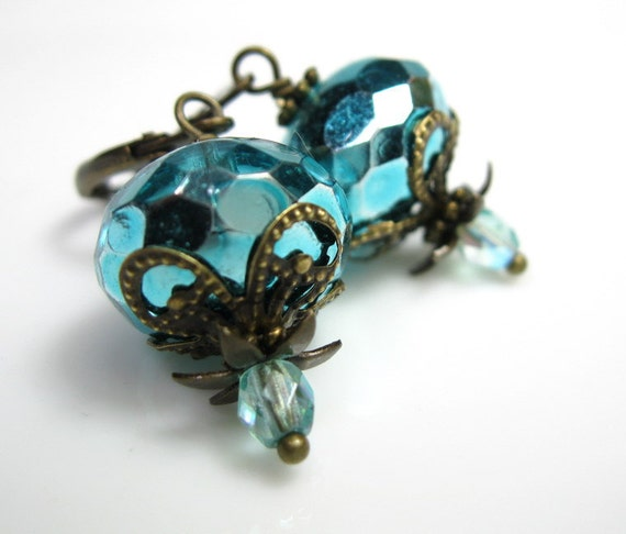 Aqua, Czech Glass, Vintage Style Earrings, Antiqued Brass