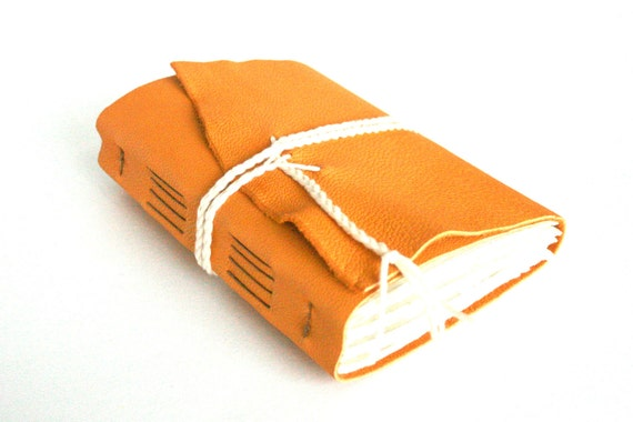 Leather Journal, Gold Yellow, Hand-Bound 4.5 x 6 Journal by The Orange Windmill on Etsy