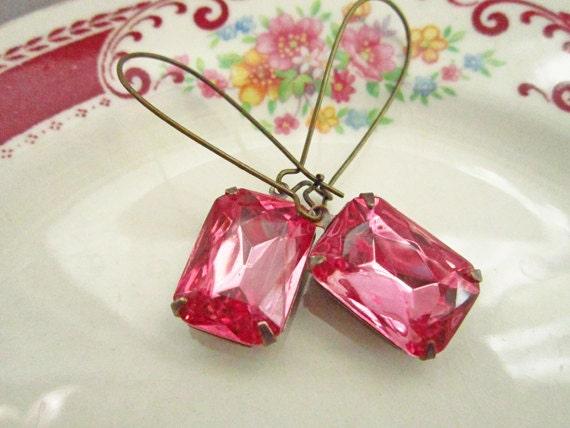 Pink Earrings Estate Style Vintage Glass Jewels, Bridal Earrings