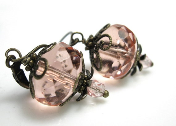 Dusty Rose, Czech Glass, Antiqued Brass, Vintage Style Earrings, Pink