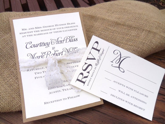 Kraft Paper Lace Wedding Invitation Set
