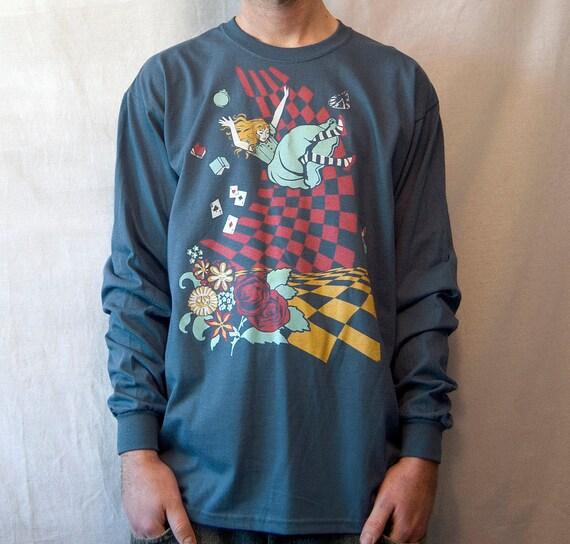 Alice in Wonderland T-shirt, Down the Rabbit Hole Men's Long Sleeve T-shirt