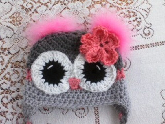 Grey & Pink Owl Hat with Feather Poofs