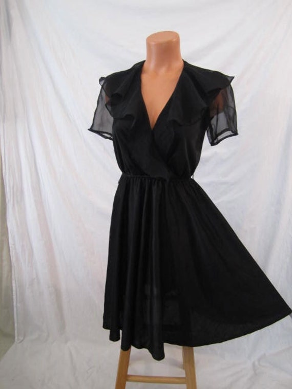 GOTHIC ROMANCE vintage disco party dress - black - full skirt - chiffon trim xs s