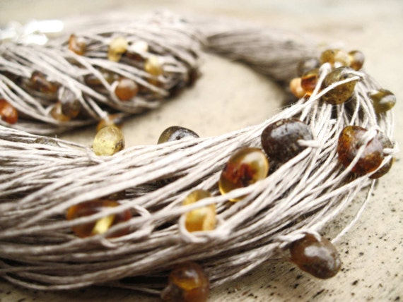 Raw Baltic Amber Necklace and Amber Bracelet Set, Natural  Linen Jewelry