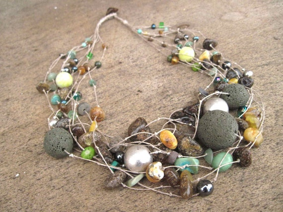 Natural Stone Necklace, Raw Amber,  Lava Stone, Coral, Turquoise, Howlite,  Amazonite,  Glass,  Linen Necklace