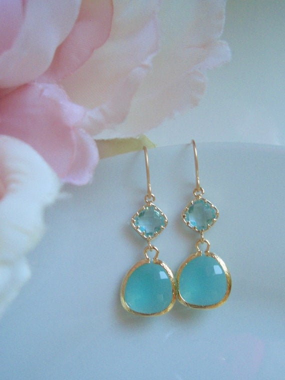 Gold Classic Drop - Aqua and Light Blue Earrings