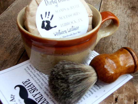 Men's Shaving Gift Set, Shaving Mug Set, Vintage Shaving Mug,  Etsy Grooming Kit, badger  Brush, Handmade Soap
