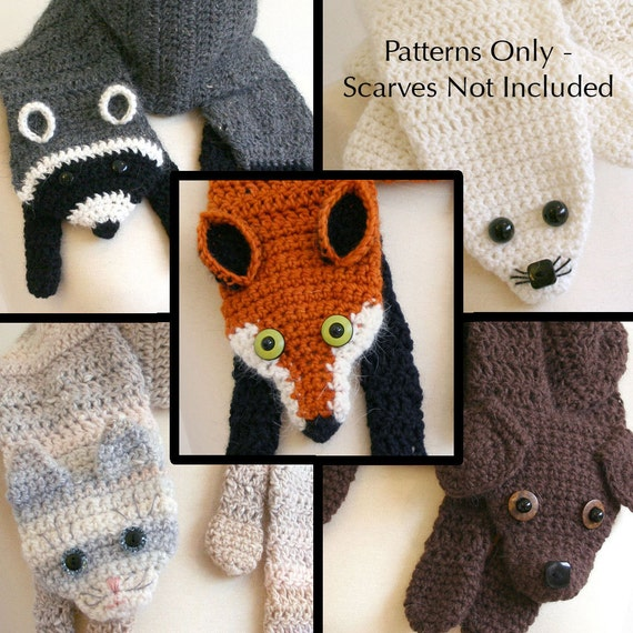 creative and adorable crochet animal scarf patterns like these Crochet Animal Scarves For Kids