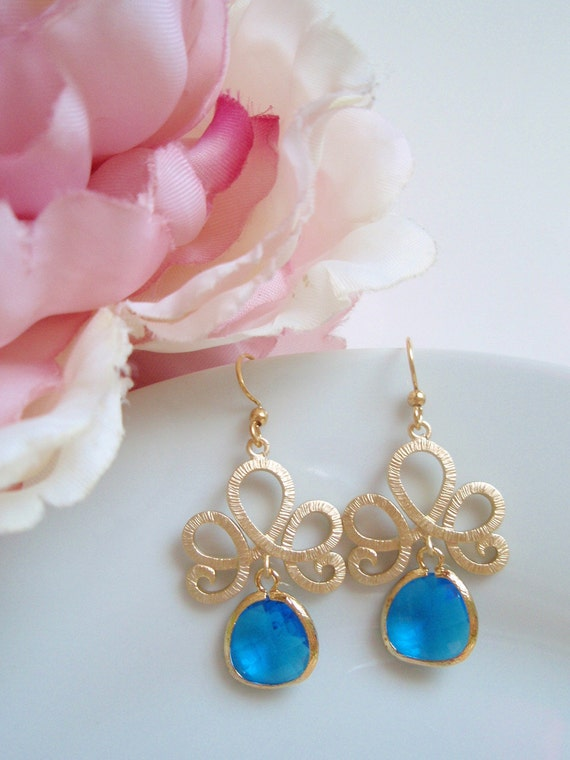 Gold Tiara - Capri Blue Earrings