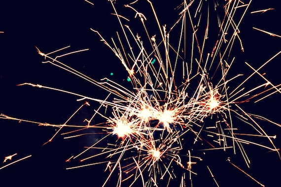 Happy New Year 4x6 metallic print fireworks colorful bursts light bulb photography fourth of july impressive