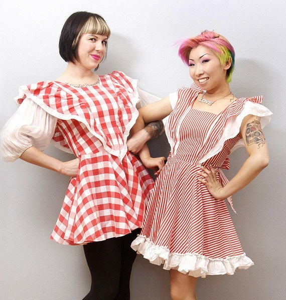 Vintage Farm Girl Dress Bright Cherry Red White Checkered Costume Lolita Dress - Medium