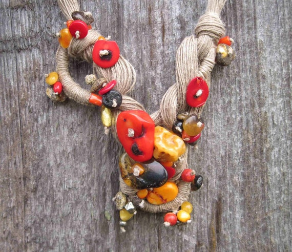 Seven Seas Natural Amber Coral Linen Necklace