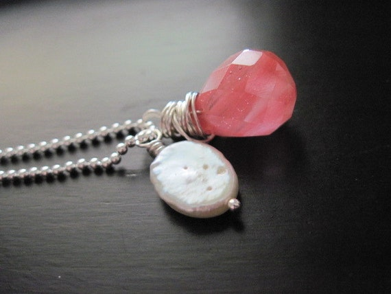 Cherry Quartz Necklace Freshwater Pearl Sterling Silver Peachy Pink Wire Wrapped Bead Ball Chain