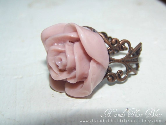 Purple Filigree Rose Ring