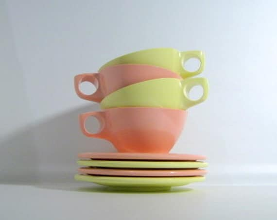 Boontonware Pink and Yellow Melmac Cup and Saucer Set