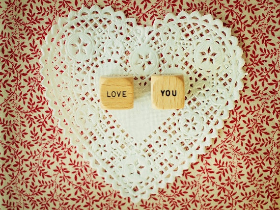 Scrabble Words Love You. Floral Vintage Red. Wood Dice with Words. White Doily. Lace. Still Life Photography 5x7""