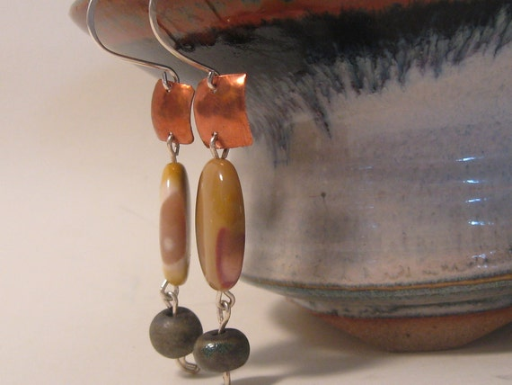Handmade Copper, Mookaite and Ceramic Bead Earrings
