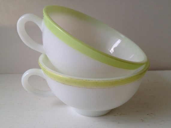 SALE - Set of 2 Vintage Pyrex Tea Cups - Citron Stripe