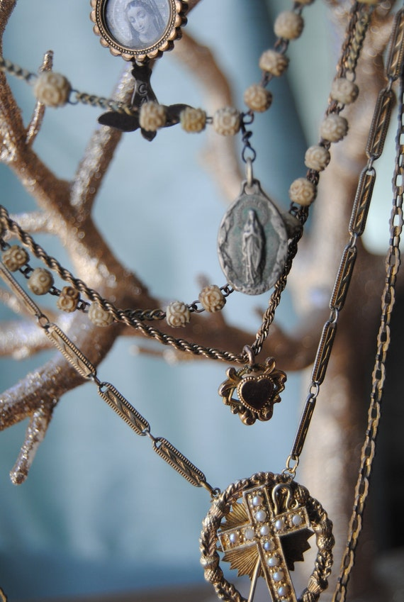 Возлюбленные сердца - Vintage Сборка викторианской цепи часы и резной кости Ox Розария ОЖЕРЕЛЬЕ