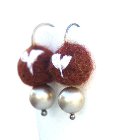 Drop Earrings White Heart On Chocolate by Catherine Jeltes as galleryzooartdesigns on Etsy from etsy.com