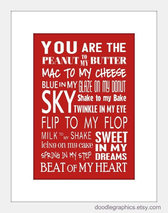 You Are The Peanut To My Butter 5 X 7 Art Print Valentines Day