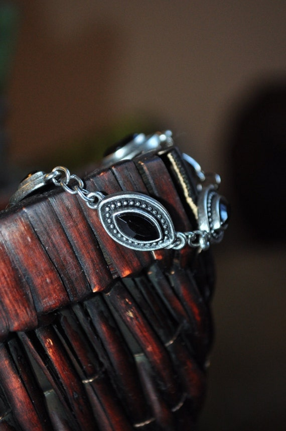 Black on antiqued silver marquise link bracelet