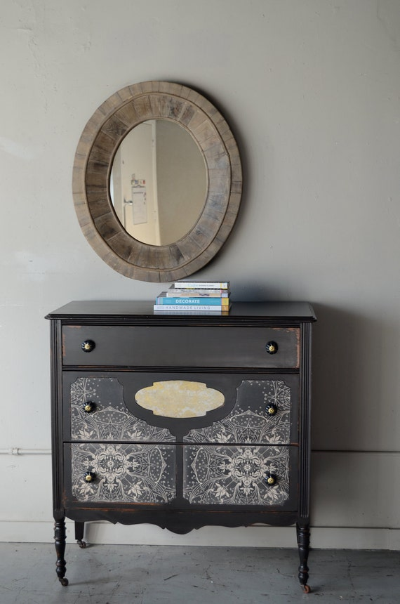 RESERVED LISTING for Charity: gerda- painted chest with wallpaper insets