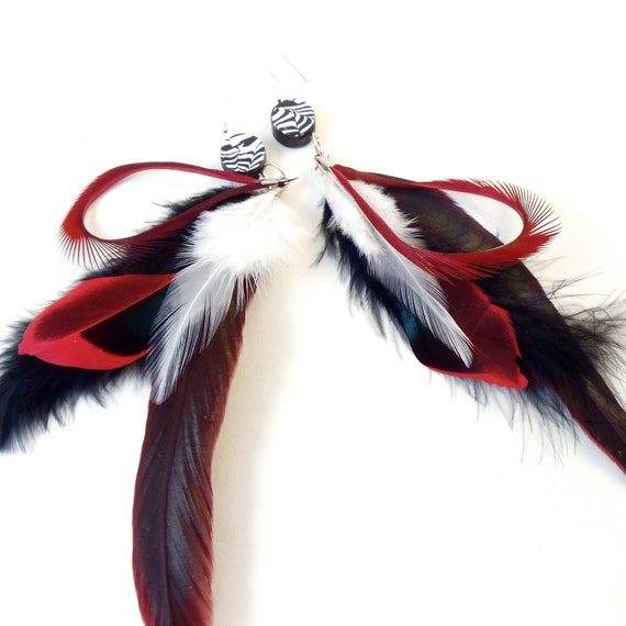 Feather Earrings Zebra Black White Red Feathers
