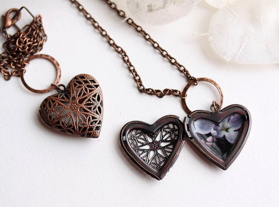 10% OFF Weekend Sale Photo Jewelry Heart Shaped Locket Necklace - Budding Lilacs  - original photography - ready to ship