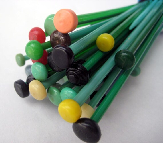 Vintage Knitting Needles DESTASH Lot 4 Green Plastic / Bakelite