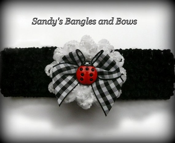 Ladybug Black and White Girls Headband